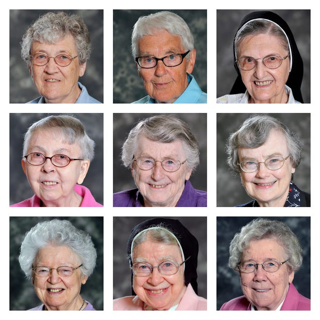 This combination of photos provided by the School Sisters of Notre Dame Central Pacific Province shows, top row from left, Sisters Cynthia Borman, Rose M Feess, and Joan Emily Kaul; middle row from left, Mary Lillia Langreck, Michael Marie Laux, and Ellen Lorenz; and bottom row from left, Dorothy MacIntyre, Mary Alexius Portz, and Mary Elva Wiesner in Elm Grove, Wis. All nine died from COVID-related complications in December 2020.