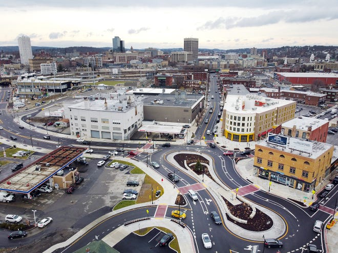 A view of Green Street, the Kelley Square peanut, the Worcester Market and Polar Park at left in background as seen from the air on Thursday,