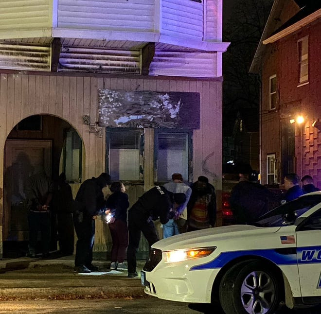 WORCESTER - Police release several people who were detained and handcuffed on Blackstone River Road after shots were fired into a nearby building late on the night of Dec. 30, 2020.