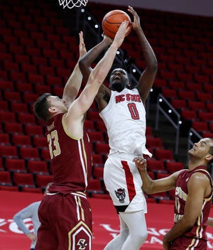 NC State's D.J. Funderburk (0) scored 17 of his game-high 21 points in the first half of the Wolfpack's 79-76 win against Boston College. As the calendar flips to 2021, the redshirt senior said the Wolfpack is right where it needs to be.