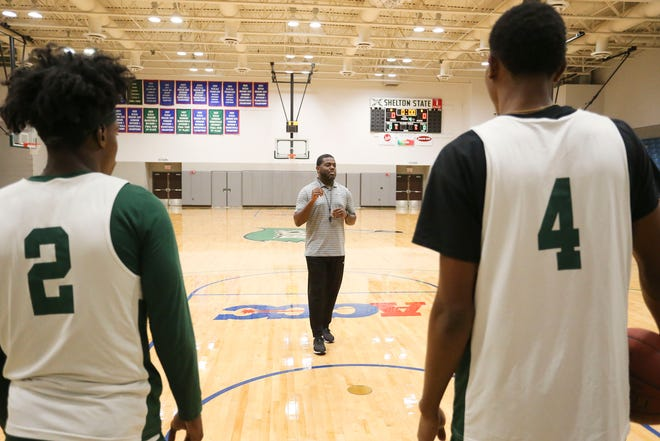 Head Coach Joe Eatmon gives instructions during practice at Shelton State Tuesday, Oct. 22, 2019. [Staff Photo/Gary Cosby Jr.]
