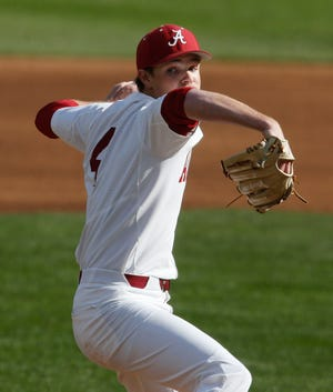 Connor Prielipp delivers a pitch in a Feb. 28, 2020 home game against Harvard. Prielipp has been named a 1st-team preseason All-America by College Baseball News.