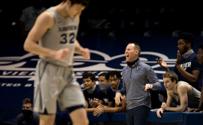 Xavier Musketeers men's basketball head coach Travis Steele yells at his players in the first half against the Seton Hall Pirates at Cintas Center on Wednesday, Dec. 30, 2020.