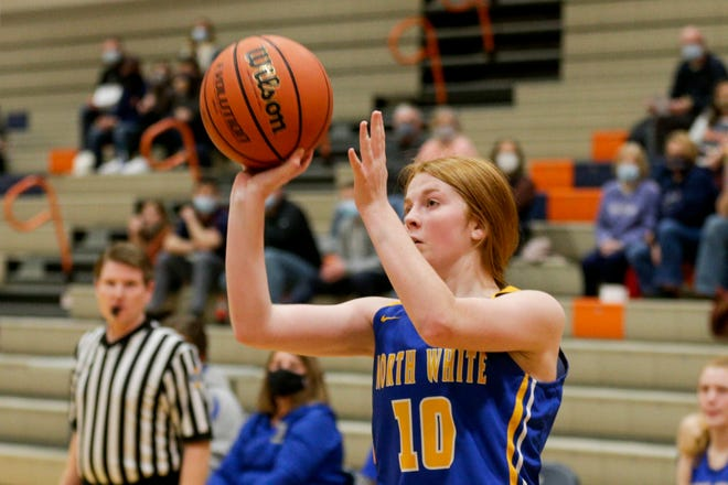 North White's Abigale Spry (10) goes up for a shot during the third quarter of an IHSAA girls basketball game, Wednesday, Dec. 30, 2020 in West Lafayette.