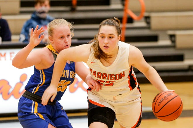 Harrison's Emma Henderson (25) dribbles against North White's Ashley Williams (20) during the fourth quarter of an IHSAA girls basketball game, Wednesday, Dec. 30, 2020 in West Lafayette.