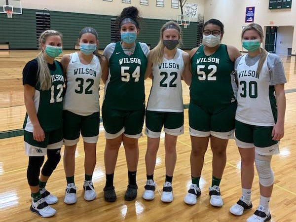 Wilson Memorial's senior basketball players following a recent practice. From left, LeAnna Rankin, Madison Flint, Serenity Stacy, Ashley Morani, Joya Payne, and Korinne Baska.