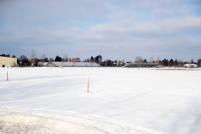 Snow covers the ground at the future site of a new baseball and softball quadplex Thursday, Dec. 31, 2020, at Lincoln High School in Wisconsin Rapids.