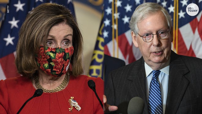 Nancy Pelosi has accused Mitch McConnell and Senate Republicans of holding up the distribution of $2,000 stimulus checks to the American people.