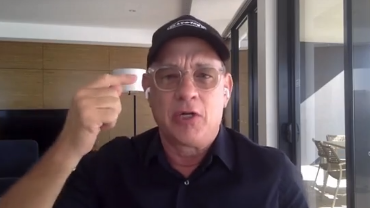 'Look at that thing!' Bald Tom Hanks shows off his 'horrible haircut' for Elvis Presley movie thumbnail