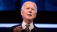 President-elect Joe Biden speaks at The Queen theater, Tuesday, Dec. 29, 2020, in Wilmington, Delaware.