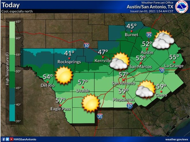 The Jan. 1 weather forecast expects a high of 52.