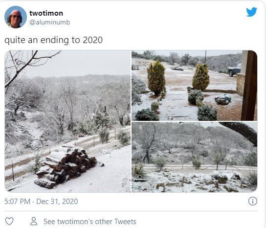 Snow in north Gillespie County on New Year's Eve as captured by Twotimon @aluminumb on Twitter.