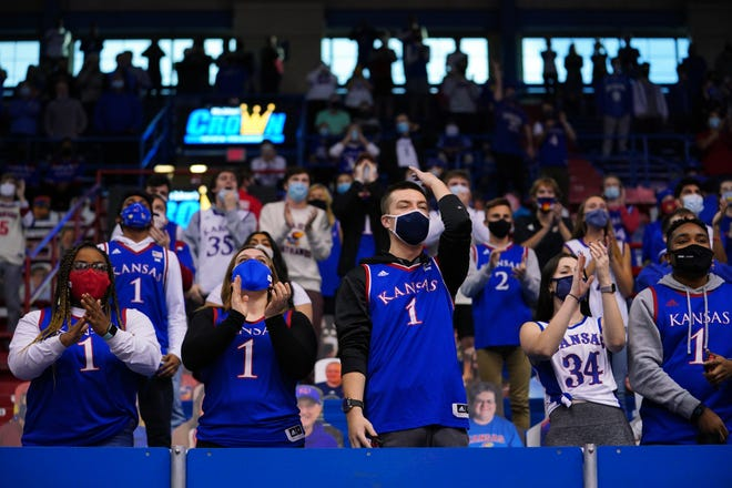 Kansas fans cheer during pregame introductions before the Dec. 8 game against Creighton at Allen Fieldhouse in Lawrence. The third-ranked Jayhawks host No. 8 Texas on Saturday.