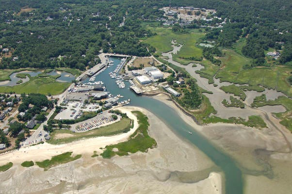 Aerial view of Blish Point in Barnstable Village, where floodwaters damaged about 200 homes -- more than 30, severely -- in 2018.