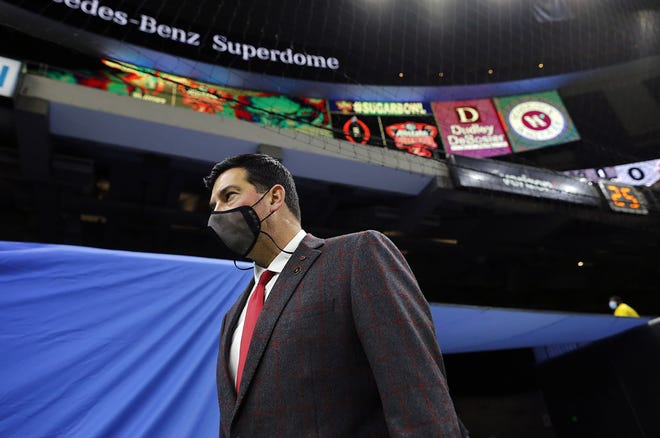 Ohio State Buckeyes head coach Ryan Day enters the Superdome as his team arrives before taking on Clemson Tigers during the College Football Playoff semifinal at the Allstate Sugar Bowl in the Mercedes-Benz Superdome in New Orleans on Friday, Jan. 1, 2021.
