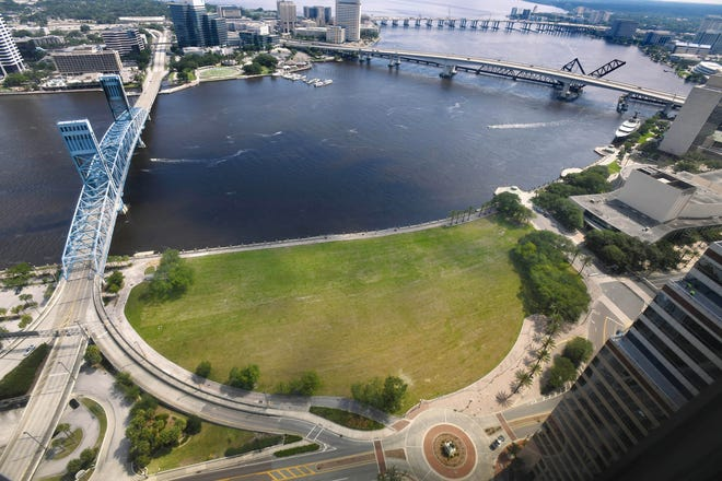 The city-owned land where the Jacksonville Landing was demolished is covered now by grass.