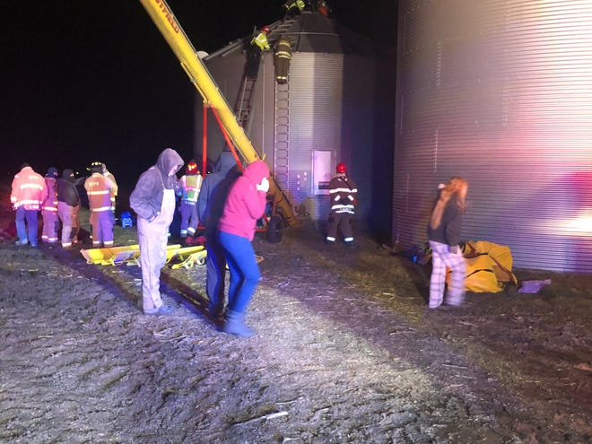 The scene at a grain bin in rural Stonington Wednesday evening. [Christian County Sheriff's Office]