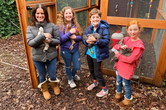Anggota keluarga Abta, dari kiri, Allison, Violet, Eli, dan Ariella menggendong ayam di depan kandang ayam di halaman belakang mereka di Ross, California, pada 15 Desember 2020.