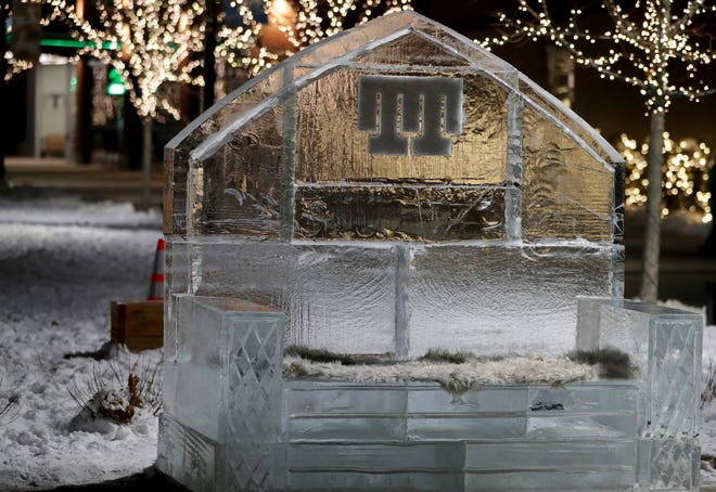 The Titletown District will feature ice sculptures throughout the park beginning Friday for the Packers vs. Rams divisional round playoff game Saturday at Lambeau Field. This throne was part of the New Year's Eve festivities at Titletown.