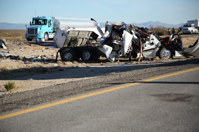 A fuel tanker crashed on Interstate 25 north of Las Cruces on Thursday, Dec. 31, 2020. The interstate was closed to traffic for about 12 hours as officials cleaned up the crash site.