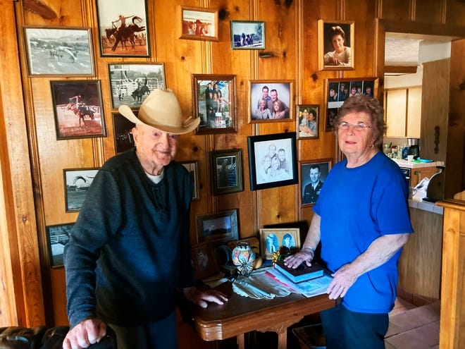 Wayne and Susie Welsh pose in their ranch home of 60 years in Peeples Valley, Ariz. in this undated photo. The humble, happy couple have lived a life most known only from legend -- think cowboy movie stars.