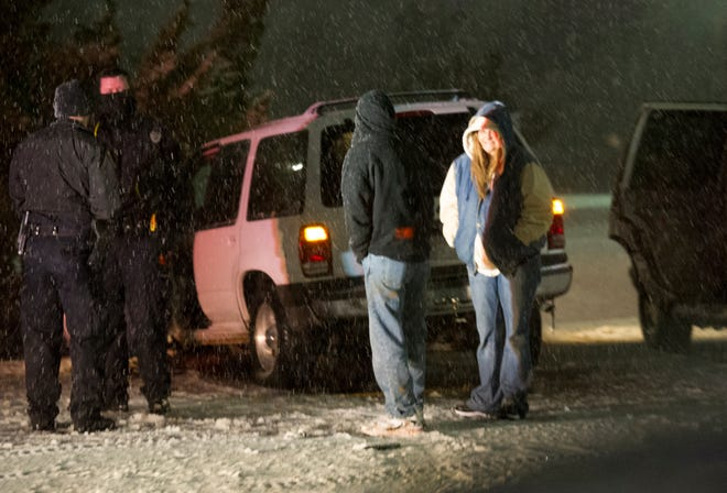 Wichita Falls Police worked the scene of an accident Friday morning on Kell Freeway near the Kemp Boulevard exit. The area saw snow during the early morning hour of the new year slowing some commuters.