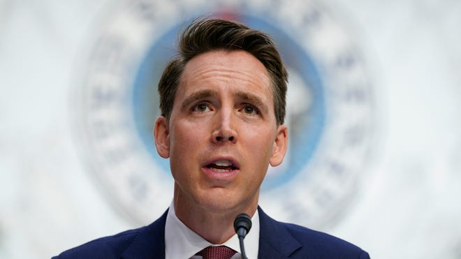 Sen. Josh Hawley, R-Mo., speaks during a confirmation hearing for Supreme Court nominee Amy Coney Barrett before the Senate Judiciary Committee on Capitol Hill in Washington, Oct. 12, 2020.