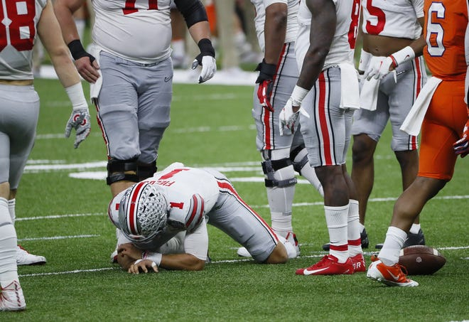 Ohio State quarterback Justin Fields missed only one play after being speared in the ribs by Clemson linebacker James Skalski in the second quarter of the Sugar Bowl.