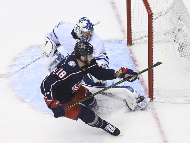Center Pierre-Luc Dubois (18) had a strong postseason for the Blue Jackets, leading the team with four goals and six assists in the playoffs.