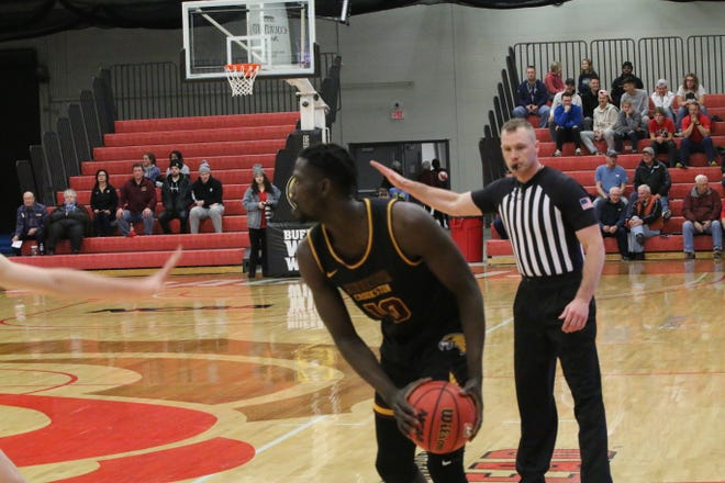 Ibu Jassey Demba in a game against Minnesota State Moorhead in December 2019. Jassey Demba scored nine points in the Golden Eagles' loss to Concordia-St. Paul Saturday.