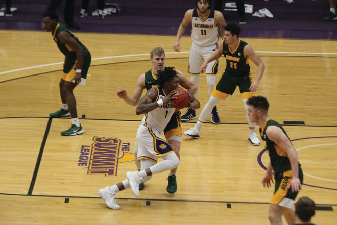 Western Illinois' Anthony Jones goes to the basket during Saturday's game against North Dakota State.