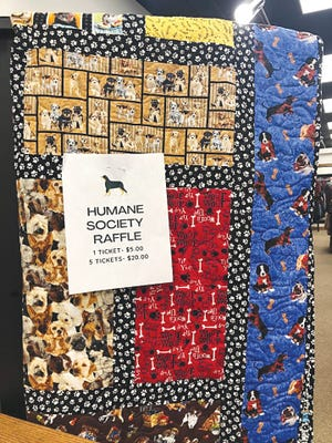The annual quilt to be raffled for Pratt Area Human Society funding, is now on display at Hello Beautiful, downtown Pratt. Tickets may be purchased there or at the PAHS office.