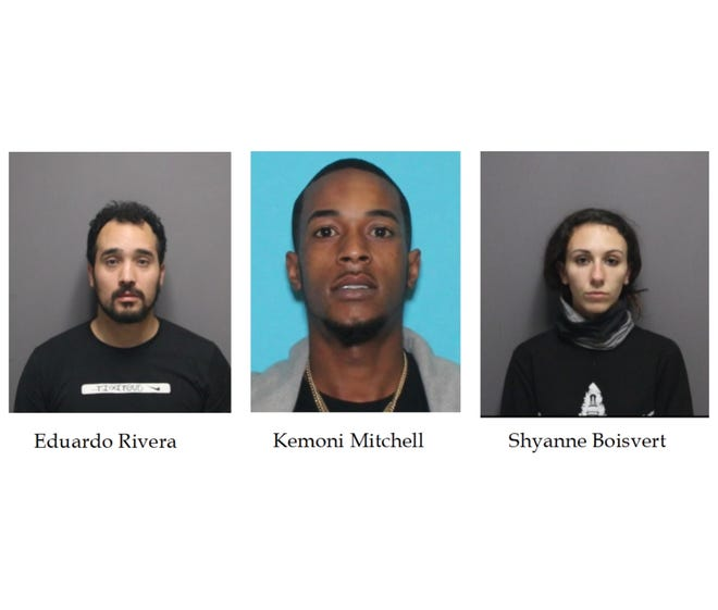 Three people were charged Friday after a group of dirt-bike and ATV riders swarmed a Cranston police officer, assaulted him, and then led other officers on a chase through three communities.