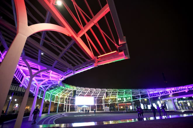 Centennial Plaza lit up for First Friday and the kickoff of Illumination: Canton Light Festival in January.