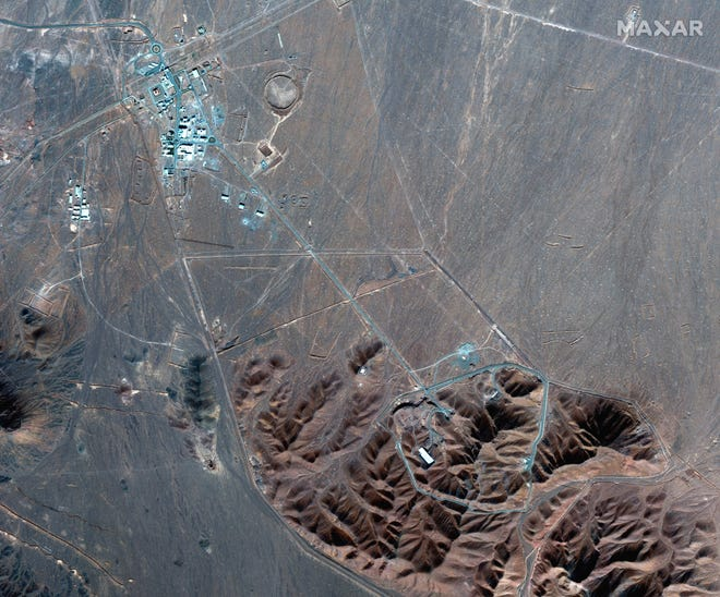 This Nov. 4, 2020, file satellite photo by Maxar Technologies shows Iran's Fordo nuclear site.