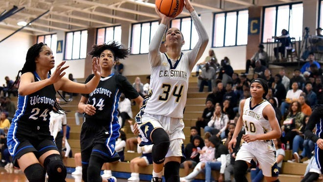 E.E. Smith junior Jada Priebe (34) is one of the few returners for the Golden Bulls, who had several players make the move to Terry Sanford. The shake-up should make for a fun race in the Patriot 4-A/3-A Conference this season.
