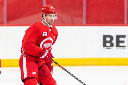 Dylan Larkin at the Detroit Red Wings training camp in Little Caesars Arena, January 2, 2021.
