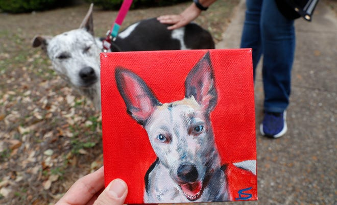Dalam foto yang dibuat Senin 2 Maret 2020 ini, Danielle Moore, berdiri, berpose untuk foto bersama Kana dan juga lukisan anjing peliharaan Australia di Dallas.