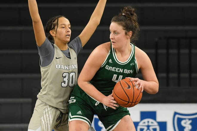 UWGB senior Caitlyn Hibner, pictured against Oakland earlier this month, was the only Phoenix to score in double figures in a 60-48 loss at Cleveland State on Saturday.