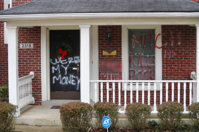 United States Senate Majority Leader Mitch McConnell's home in Louisville was vandalized following his blocking of $2000 stimulus checks.1/2/21