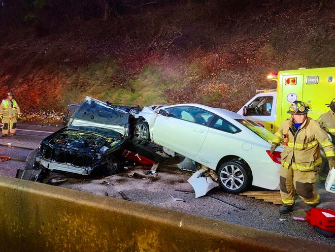 Interstate 83 south lanes in Newberry Township were shutdown as firefighters worked to extricate a trapped person on Saturday Jan. 2, 2021.