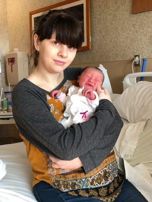 Christina Sparkman gave birth to Reid Health's New Year's baby, Aurora.