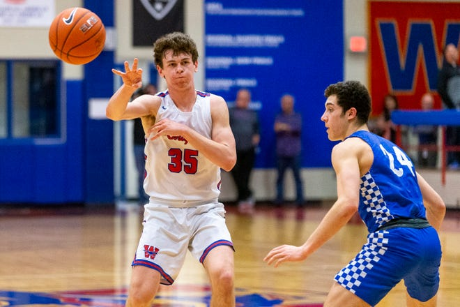 Westlake guard Conor McManus, left, had 19 points and spearheaded a ferocious defensive effort by the Chaps in a 75-46 win over Bowie Saturday at Westlake High School.