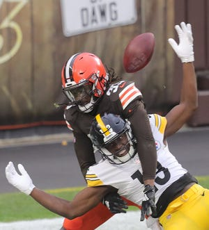Browns Ronnie Harrison will miss Sunday's AFC wild-card game against the Pittsburgh Steelers after testing positive for COVID-19. [Phil Masturzo/Beacon Journal]