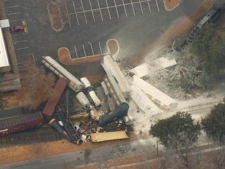 A train derailment and chlorine spill in Graniteville in 2005 left nine dead.