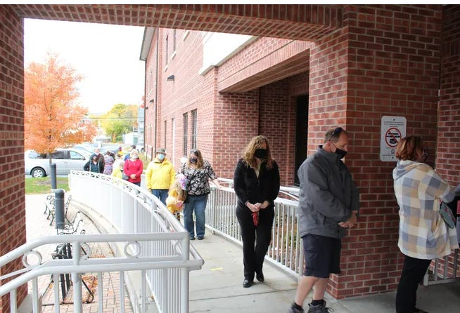 Early voters in Penn Yan numbered almost 400 on Saturday, Oct. 24, 2020 with the line stretching around the Yates County Office Building at 9 a.m. when the polls opened at the Board of Elections office.
