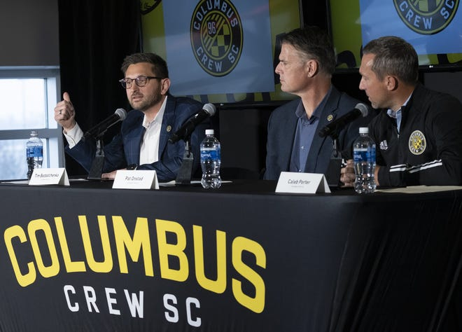 From left, Crew president and general manager Tim Bezbatchenko, technical director Pat Onstad and coach Caleb Porter would like to add depth to their roster for what could be a jam-packed 2021 schedule.