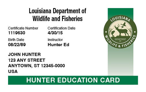 A sample Louisiana hunter education card.