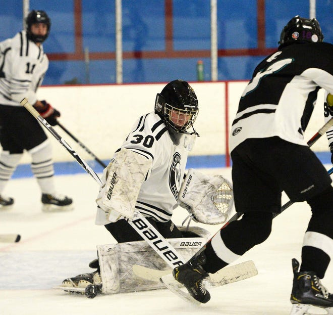 Whitman-Hanson goaltender Bobby Siders makes the save versus Plymouth South, Saturday, Jan. 2, 2021.