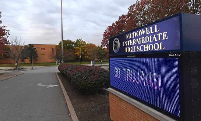McDowell Intermediate High School in Millcreek Township is shown in this file photo.